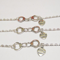 3 Partners In Crime Handcuff Heart Best Friend Bracelets BFF Sisters