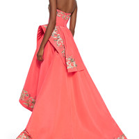 Oscar de la Renta Embroidered Strapless Ruffle High-Low Gown