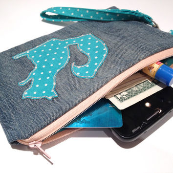 Zippered Squirrel Denim Wristlet