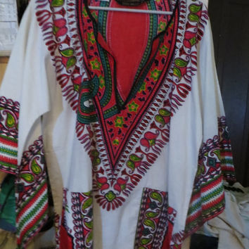 VINTAGE 60s  GROOVY Bou Boudina Exotic Designs   ethic tribal hippie bouse  / shirt unisex sz med
