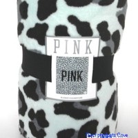 Victoria's Secret Pink Holiday Large Stadium Blanket Mint Leopard
