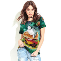 Summer Tee Shirt Cat And Hamburger Design