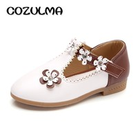 COZULMA Kids Casual Shoes Children Girls Leather Shoes Girls Princess Flower Party Shoes Kids Flats Casual Sneakers Size 21-36