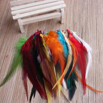 Colorful 25pcs/lot 4-6'' Dyed Rooster Saddle Cape Craft Feathers Cosplay Crafts 50pcs