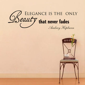 Wall Decals Audrey Hepburn Quote Decal Elegance is the Only Beauty Sayings Sticker Vinyl Decals Wall Decor Murals Z282