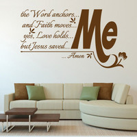 Religious Wall Decal. The Word anchors me… CODE 104