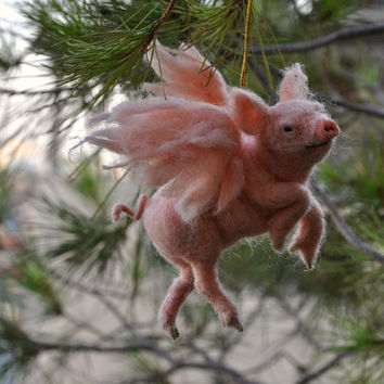 Needle felted animal. PIGASUS. Christmas tree Ornament.  Ready to ship