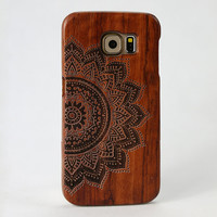 Mandala Flower Pattern Real Handmade Natural Wood Case for Samsung Galaxy S6 Wooden Case
