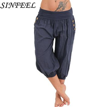 SINFEEL 5XL 2018 Summer Autumn Women Casual Harajuku Capri Pants Trousers Plus Size Elastic Waist Cotton Linen Palazzo Pants