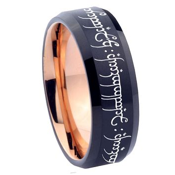 10mm Lord of The Ring Bevel Tungsten Rose Gold Mens Wedding Band