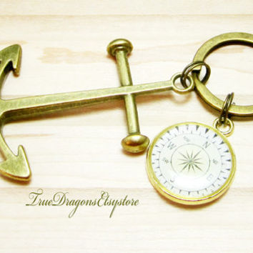 Anchor Key Chain Compass Charm Nautical Mens Boat Keys Bronze Anchor Large