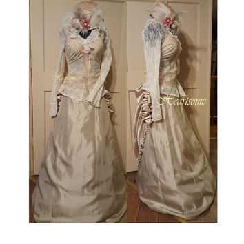 Costume Victorian Edwardian gown corset blush champagne ivory rose lace 4 pc