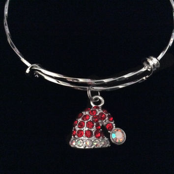 Rhinestone Red Santa Hat Expandable Charm Bracelet Silver Adjustable Wire Bangle Trendy Gift