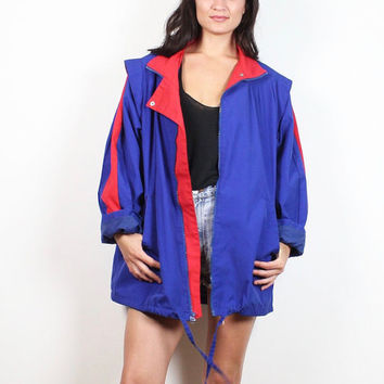 Vintage 1980s Jacket Royal Cobalt Blue Red Pleated Boyfriend Coat 80s Sporty Trench Coat Color Block Windbreaker Jacket Mod L Extra Large XL