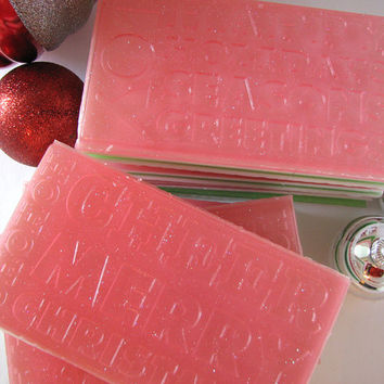 Candy Cane Soap - Handmade Glycerin Soap - Large Soap - Christmas Holiday Cheer Soap - Natural Soap -Glitter - Bath and Body
