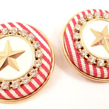 Nautical Clip on Earrings Bold Stripes and Stars Nautical Vintage Jewelry