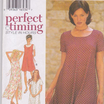 Pattern for easy pullover tent dress in above knee and mid calf length misses size s m l xl xxl 10-28 bust 32.5-50 Style 2570 UNCUT