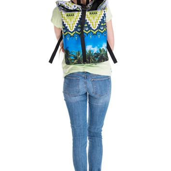 Aztec Palm Trees Blue & Yellow Courier Backpack