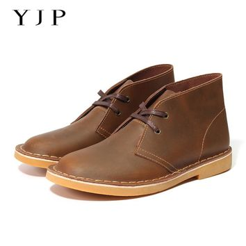 YJP Classic Desert Boots, Black/Brown Leather Chukka, Men's Lace-up Round Toe Ankle Boots, Vintage Casual Shoes Flat Heel Botas