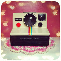 Working Vintage Polaroid Land Camera sx70 Rainbow Stripe for Instagram Fans