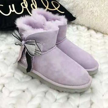 """UGG"" Winter Fashionable Women Bow Diamond Wool Snow Boots Purple"