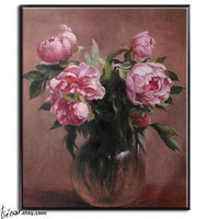 """24"""" Masterpiece Reproduction, Flower Painting, Oil On Linen Canvas, By Frank."""