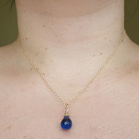 Wire Wrapped Blue Quartz Sapphire Necklace 14K Gold Filled September Birthstone Layering Necklace
