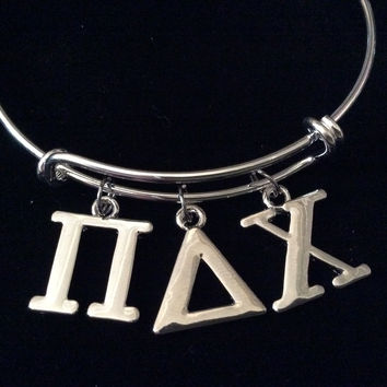 Sorority Pi Delta Chi Silver Adjustable Bangle Expandable Charm Bracelet College Jewelry