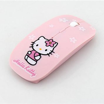 Ultra Thin Hello Kitty Wireless Mouse 2.4Ghz 1200DPI Optical USB Computer Mouse Pink Girl Pro Game Mice
