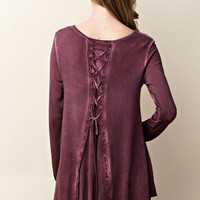 Lace Up Back Oil Washed Top - Burgundy