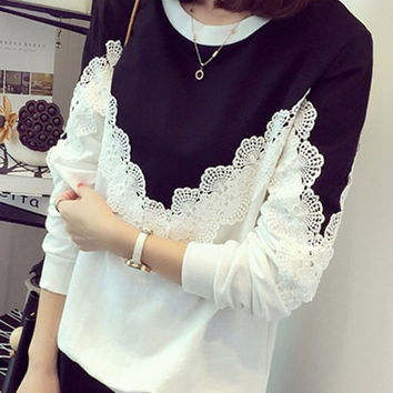 White and Black Plus Size Long Sleeve Lace Sweatshirt
