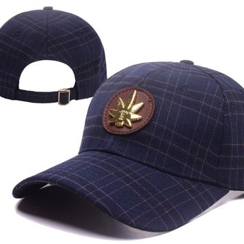 Navy Blue Grids Baseball Cap Hat