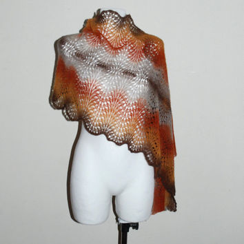 Wool Shawl, Hand Knit Scarf in Autumn Colors