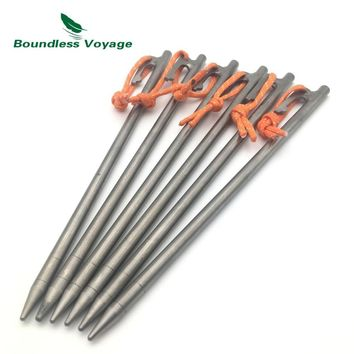 Boundless Voyage 4pcs-8pcs/Lot Ultralight Titanium Alloy Pegs Camping Outdoor Tent Stakes Portable Tent Nail
