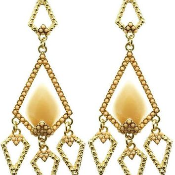 Peach Faceted Homaica Stone Chandelier Earring