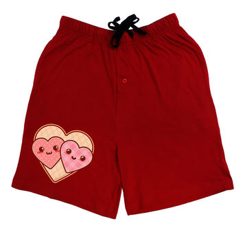 Super Cute Kawaii Hearts Adult Lounge Shorts - Red- Medium
