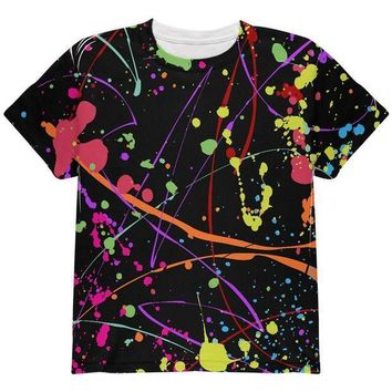 PEAPGQ9 Splatter Paint Black All Over Youth T Shirt