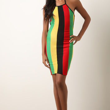 Rasta Striped Backless Halter Bodycon Dress | UrbanOG