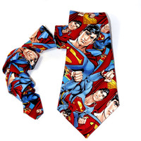 Superman tie, super hero tie, mens tie, justice league, superman accessory, comic book tie, mens superman tie, superman necktie