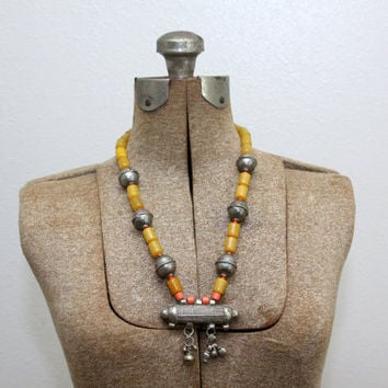 Tribal Silver Necklace - Rare Chunky Statement Piece - Vintage Afghan Neckalce - Gypsy Bells - Mustard Yellow Orange Silver