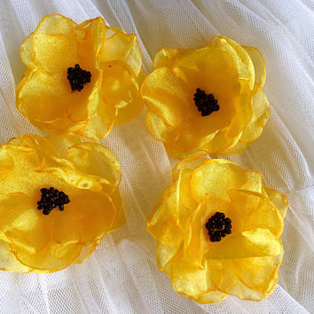 Sew on yellow flower Embellishment sunflower 3D decoration applique couture organza ornament for DIY weddings craft projects