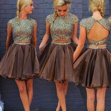 Two Pieces Backless Homecoming Dress