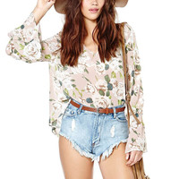 Women XS-2XL Spring Summer Floral Print Blouse Translucent Chiffon Cool Blouses Sexy V-neck Flare Sleeve Loose Female Tops
