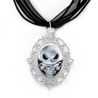 Jack Skellington Necklace, Cameo Photo Pendant, Nightmare Before Christmas, Resin, Silver Plated, Black Organza