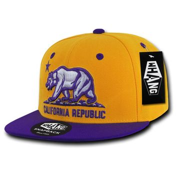 California Republic Cali State Bear Flag Snapback Hat Gold Purple by Whang