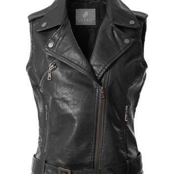 LE3NO Womens Faux Leather Moto Biker Sleeveless Vest with Pockets