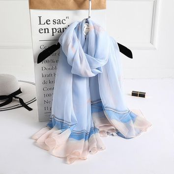 2018 Chain Graphic Scarf  Women Beach Bandana Sunscreen Hijab Scarfs Head Scarves Pringted Tippet Silk Poncho Bohemian Shawl