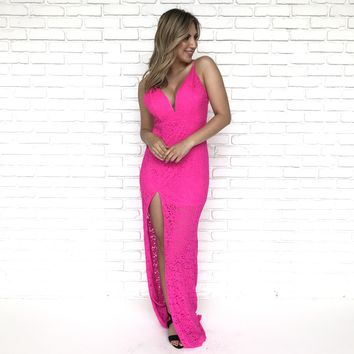 True To You Lace Fuchsia Maxi Dress