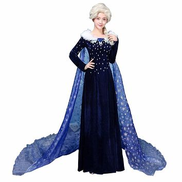 Adult Princess Elsa Snow Queen Cosplay Costume Blue Velvet Dress