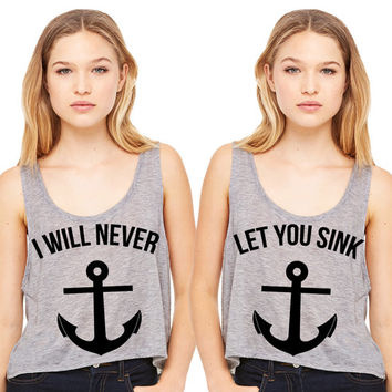 Grey Cropped Tank Top - I Will Never Let You Sink Summer Outfit Beach Tank Best Friends Duo